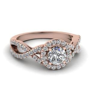 Entwined Halo Diamond Engagement Ring In 18K Rose Gold