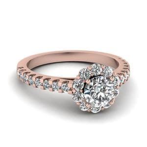 Floating Flower Diamond Engagement Ring In 14K Rose Gold