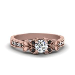 Vintage Butterfly Round Engagement Ring With Black Diamond In 14K Rose Gold