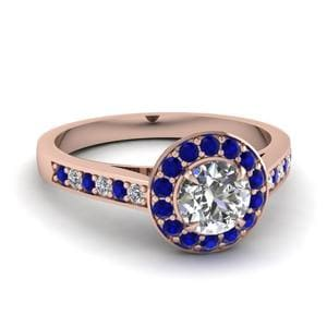 Catherdral Pave Halo Sapphire Ring