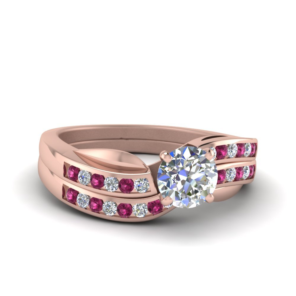 Petal Channel Set Round Diamond Wedding Ring Set With Pink Sapphire In 14K Rose Gold