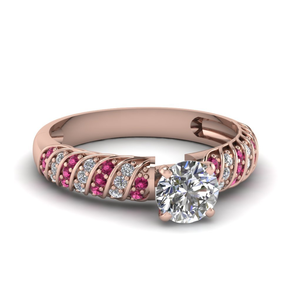 Rope Design Round Diamond Ring With Pink Sapphire In 14K Rose Gold