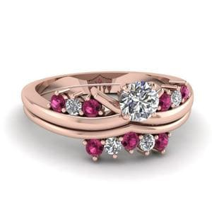 Modern Diamond Wedding Ring Set