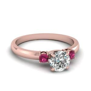 Basket Prong Round Diamond 3 Stone Ring With Pink Sapphire In 14K Rose Gold