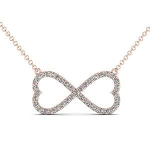 Infinity Diamond Pendant In 14K Rose Gold