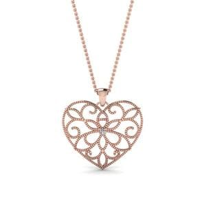 Filigree Heart Diamond Pendant In 14K Rose Gold