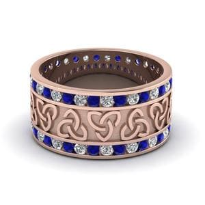 Celtic Wedding Band With Sapphire