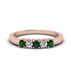 Five Stone Wedding Band With Emerald
