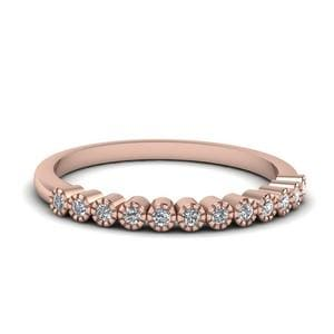 Bezel Round Diamond Thin Wedding Band In 14K Rose Gold