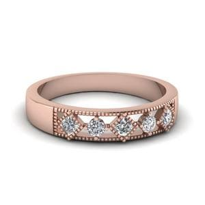 Milgrain 5 Stone Wedding Band In 18K Rose Gold