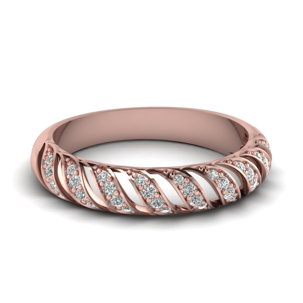 Rope Design Diamond Wedding Band In 18K Rose Gold