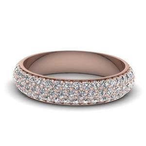 Micro Pave Diamond Wedding Band In 14K Rose Gold