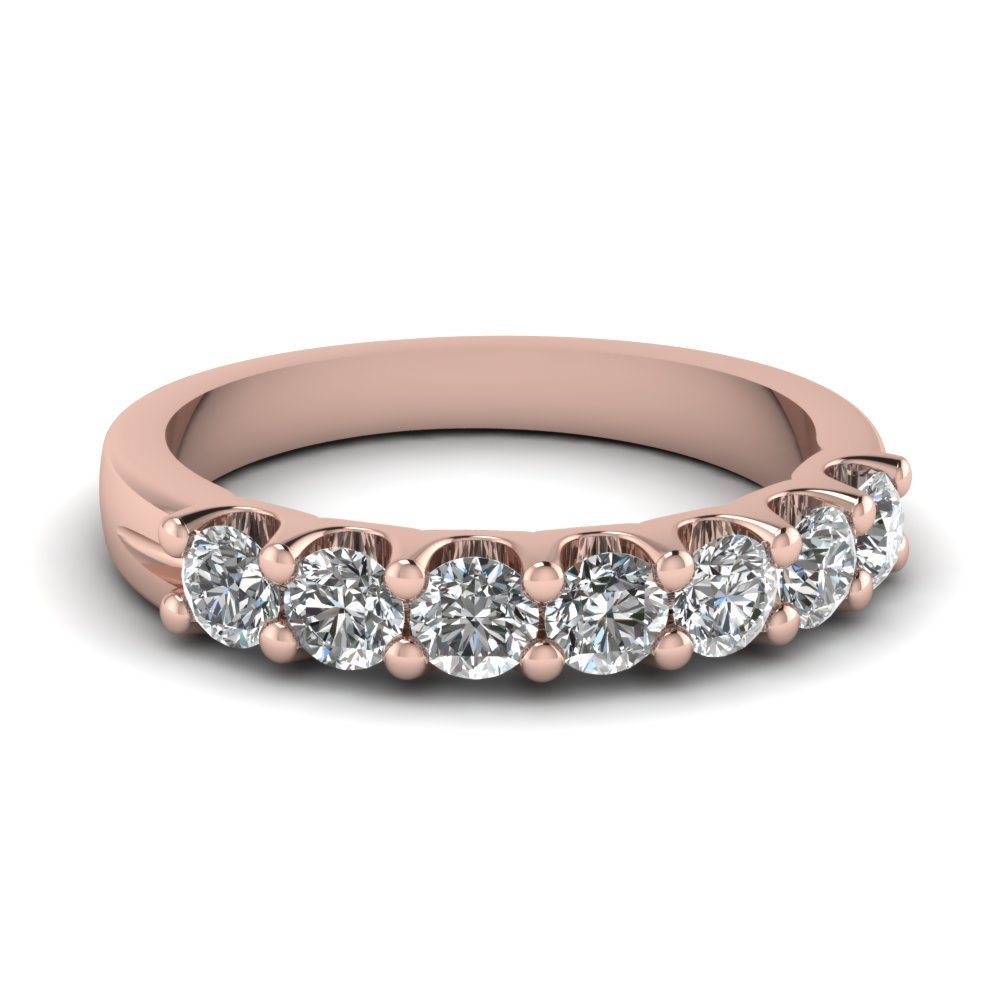 7 Stone Round Diamond Anniversary Band In 14K Rose Gold