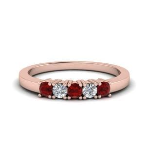 Five Stone Anniversary Band With Ruby In 14K Rose Gold