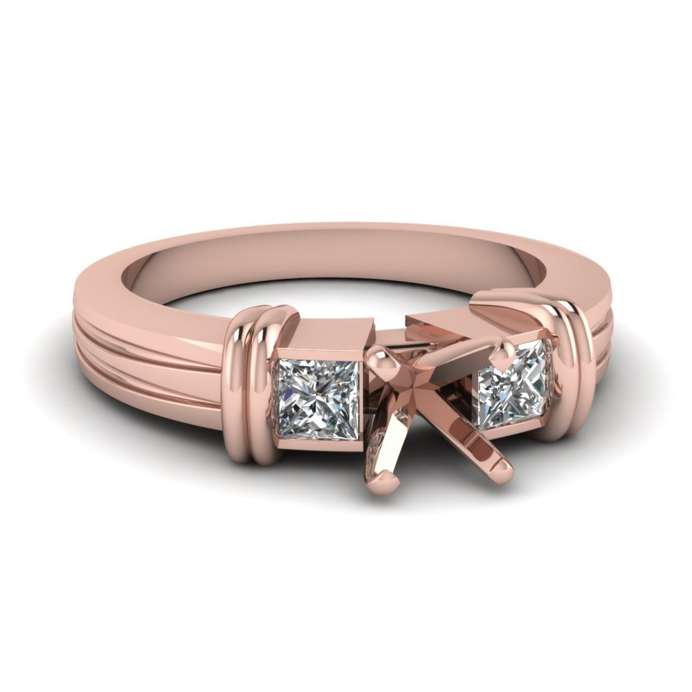 Semi Mount 3 Stone Engagement Ring In 14K Rose Gold