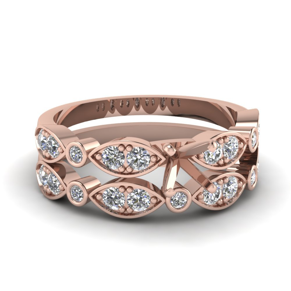 Art Deco Semi Mount Wedding Ring Set In 18K Rose Gold