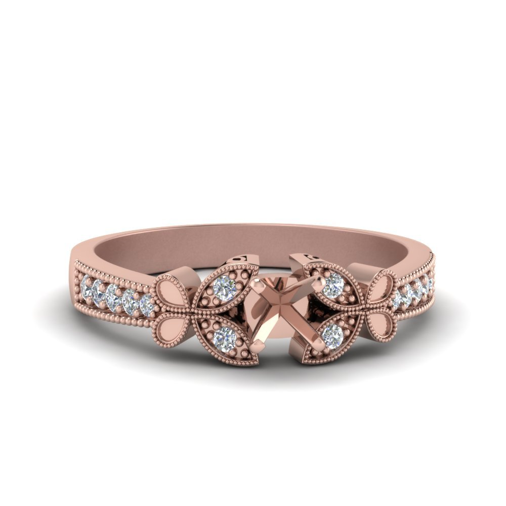 Semi Mount Vintage Butterfly Engagement Ring In 14K Rose Gold