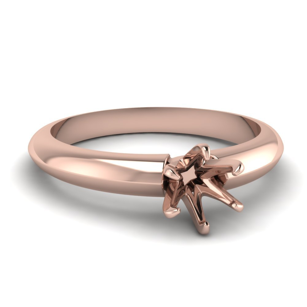 Solitaire Dome Semi Mount Engagement Ring In 14K Rose Gold