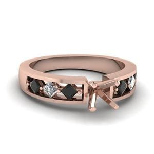 Kite Setting Semi Mount Cut Engagement Ring With Black Diamond In 18K Rose Gold