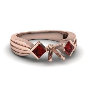 Half Bezel 3 Stone Princess Cut Engagement Ring With Ruby In 18K Rose Gold