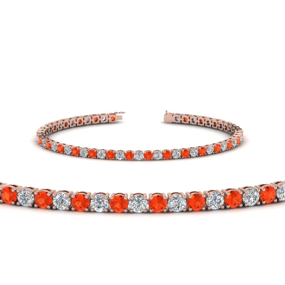 Orange Topaz Tennis Diamond Bracelet