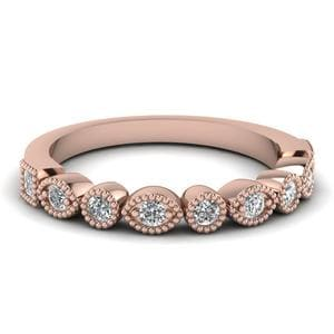 Art Deco Diamond Delicate Wedding Band In 14K Rose Gold