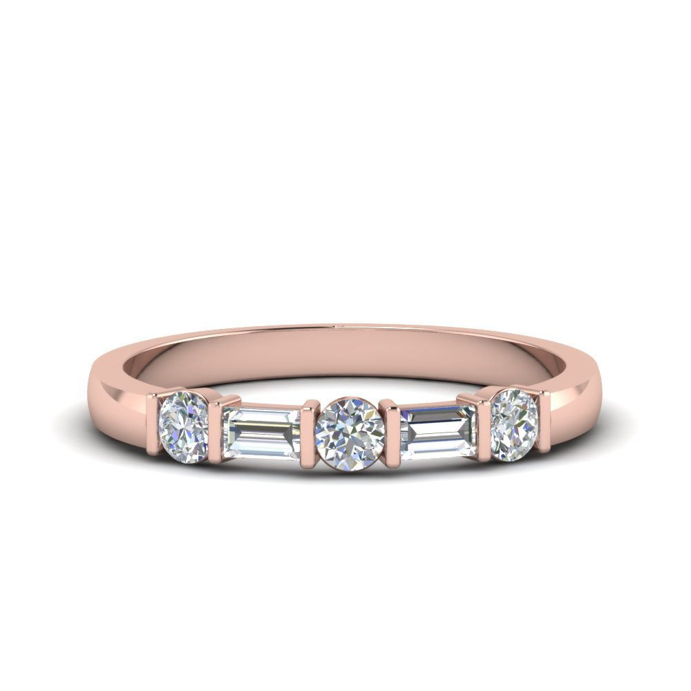 Round And Baguette Diamond Band In 14K Rose Gold