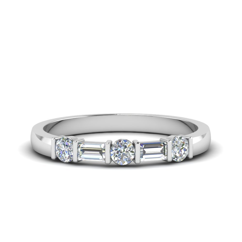 Round And Baguette Diamond Band In 14K White Gold