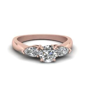 Round And Pear Diamond 3 Stone Engagement Ring In 14K Rose Gold