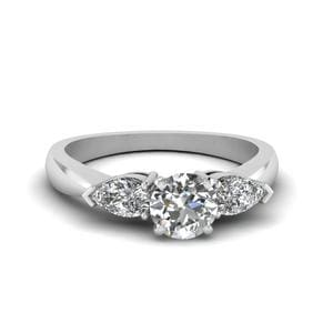 Round And Pear Diamond 3 Stone Engagement Ring In 14K White Gold