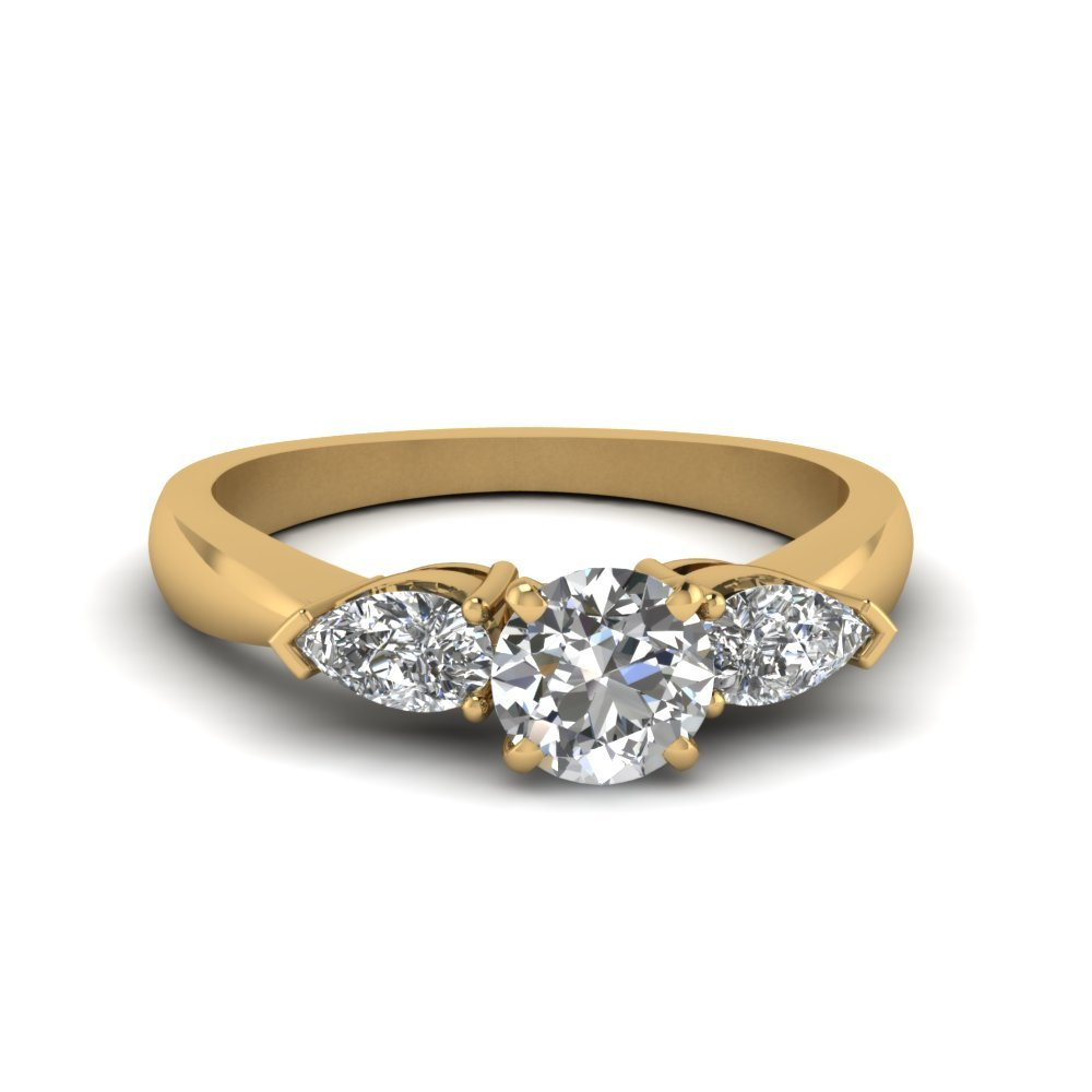 Round And Pear Diamond 3 Stone Engagement Ring In 14K Yellow Gold