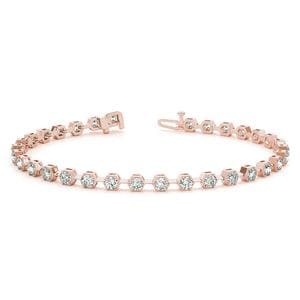 14K Rose Gold Round Diamond Bracelet