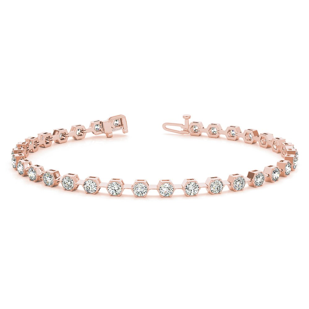 18K Rose Gold Round Cut Bracelet