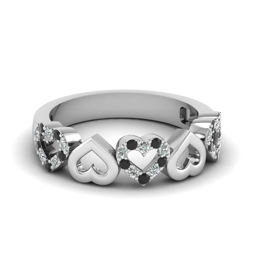Heart Design Wedding Band With Black Diamond In 18K White Gold