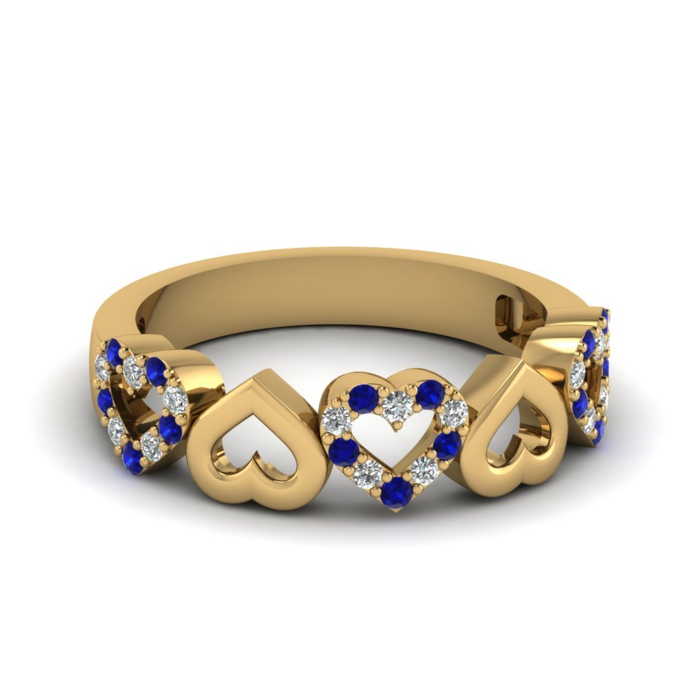 Heart Design Diamond Wedding Band With Sapphire In 14K Yellow Gold