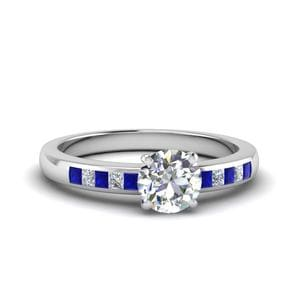 Round Channel Princess Cut Diamond Enagagement Ring With Blue Sapphire In 14K White Gold