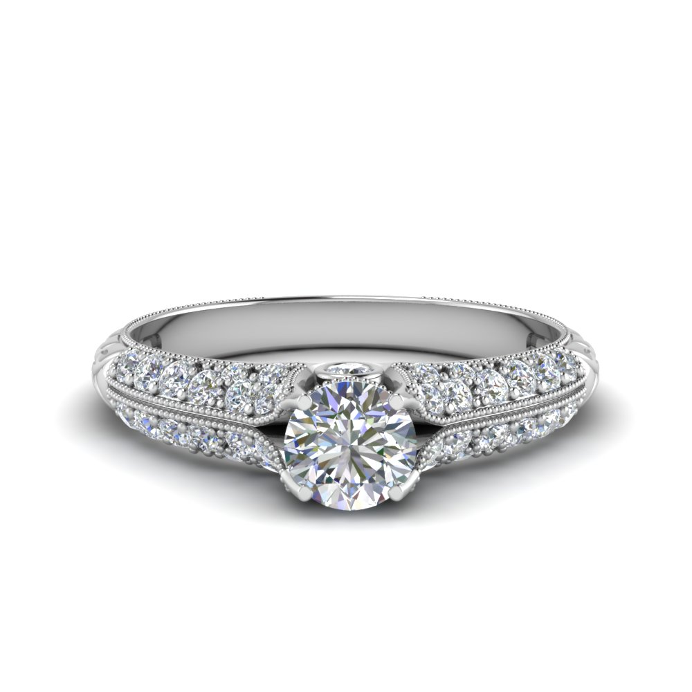 Round Cut 2 Row Milgrain Diamond Ring In 14K White Gold