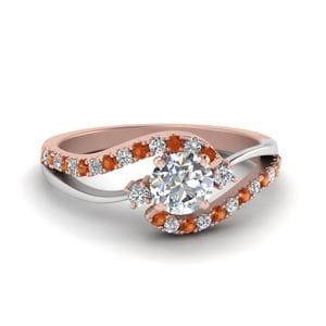 Round Cut 2 Tone 3 Stone Diamond Swirl Engagement Ring With Orange Sapphire In 14K Rose Gold
