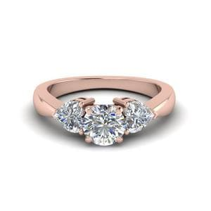 3 Diamond Round Cut Engagement Ring In 14K Rose Gold