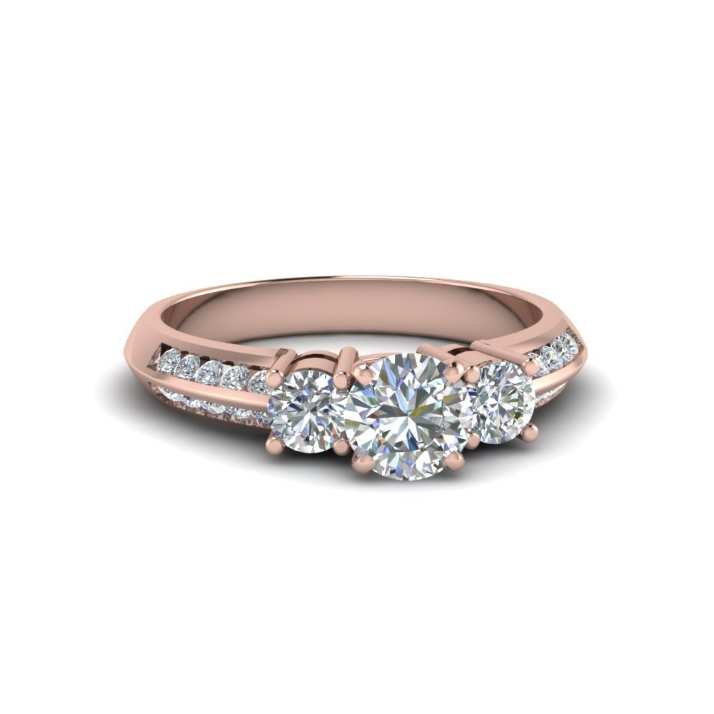 Round Cut 3 Stone Channel Accent Diamond Engagement Ring In 14K Rose Gold