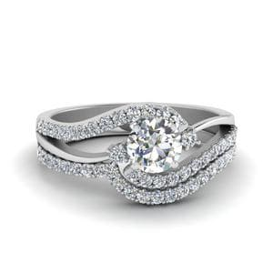 3 Stone Diamond Swirl Bridal Set