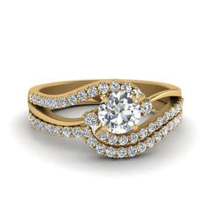 Round Cut 3 Stone Diamond Swirl Bridal Set In 14K Yellow Gold