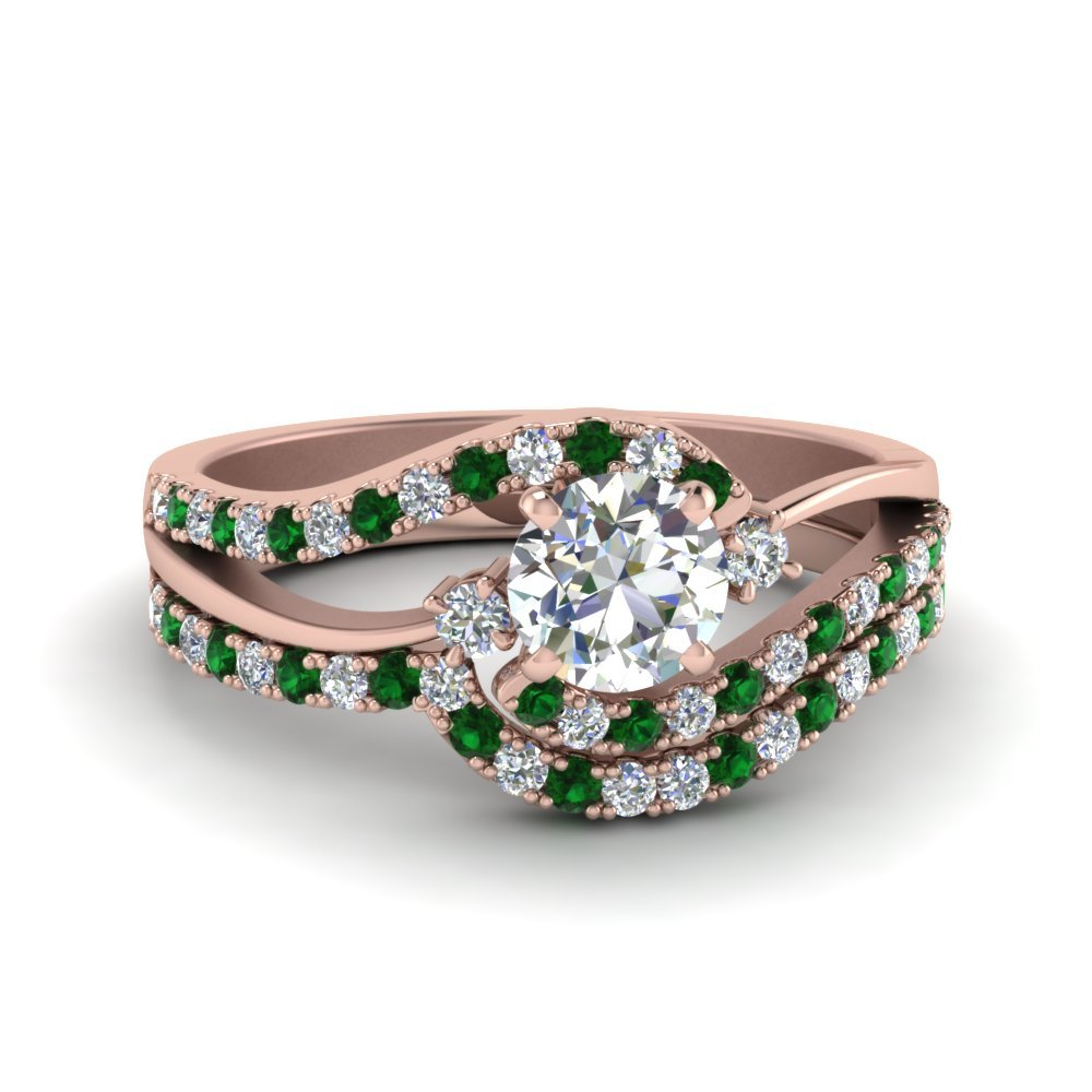 3 Stone Swirl Bridal Set With Emerald