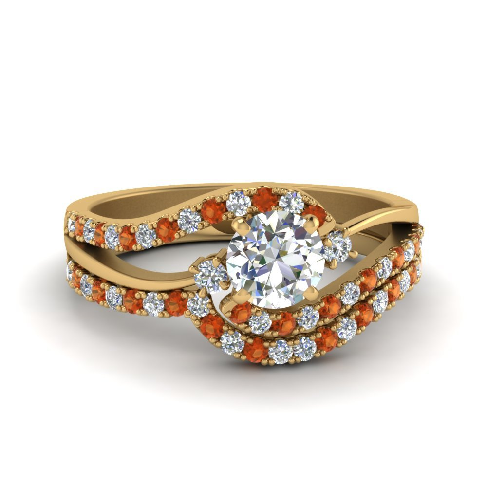 Swirl Bridal Set With Orange Sapphire