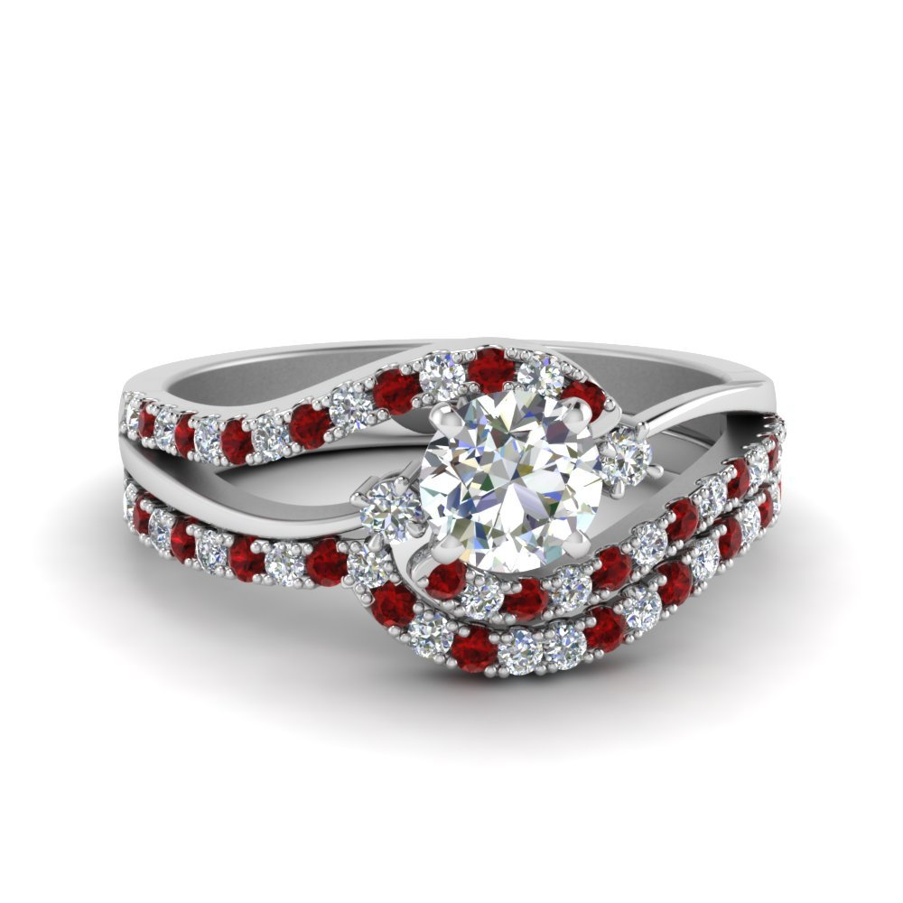 3 Stone Diamond With Ruby Bridal Set
