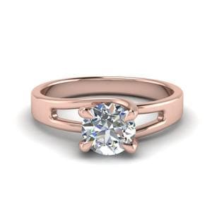 Round Cut 4 Prong Swirl Solitaire Engagement Ring In 14K Rose Gold