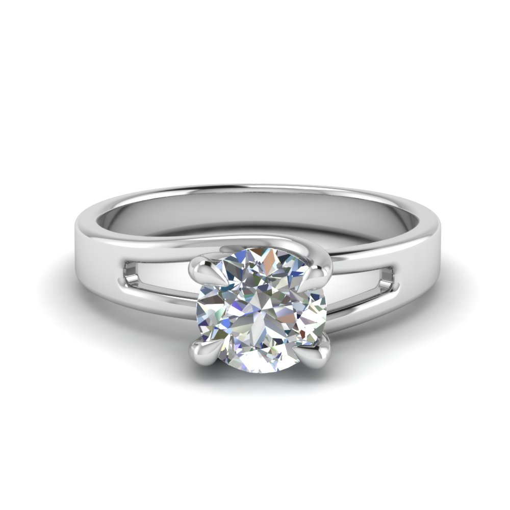Round Cut 4 Prong Swirl Solitaire Diamond Engagement Ring In 14K White Gold