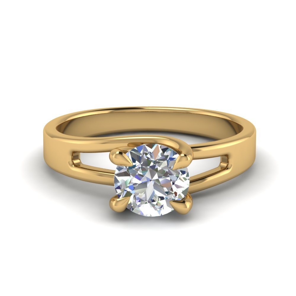 Round Cut 4 Prong Swirl Solitaire Engagement Ring In 18K Yellow Gold