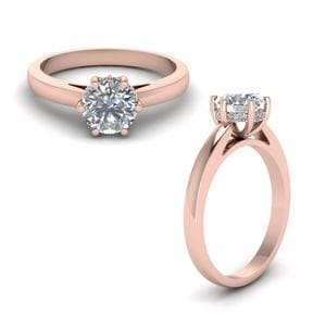 Studded Diamond 6 Prong Engagement Ring In 14K Rose Gold