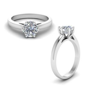 6 Prong Halo Engagement Ring